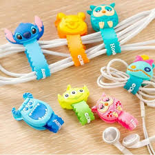 10pcs/lot Lovely Stitch Donald Duck Cartoon Cable Winder Headphone Earphone Cable  Wire Organizer Cord
