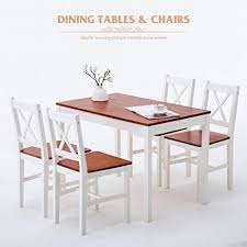 mecor 5 piece kitchen dining table set 4 wood chairs kitchen room furniture red
