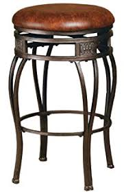 32 inch bar stools. Hillsdale Montello Backless Swivel Counter Stool, Old Steel Finish With Brown Faux-Leather 32 Inch Bar Stools W