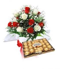 1 dozen red and white roses with big box of ferrero chocolates philippine flowers and gifts