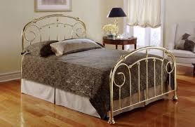 Lillian Lustre Brass Gold Finish Queen Size Metal Bed