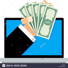 Salary Online Transaction Banknote Financial From Laptop