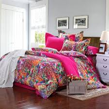 unique queen bedding sets red orange green and blue tropical scene bohemian themed full queen size