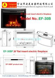 26 insert electric fireplace heater curved front log led flame effect ef 30b remote control built in electric stove