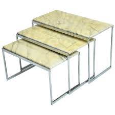 Italian Coffee Tables Marble Mid Century Modern Italian Chrome And Marble Nesting Tables For