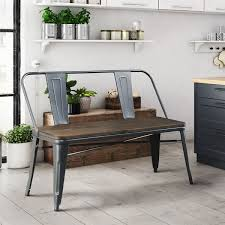 metal industrial furniture. Furniture Of America Tripton Industrial Metal Natural Elm Dining Bench - 47\
