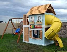a club house with an attached swing set diy playset kits accessories ireland free plans plans diy playset kits