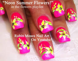 Neon Flower Nail Art | FLOWERS nail art pictures with tutorials ...