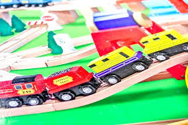 wooden railway set train cars melissa and doug deluxe review alternate view a wooden railway set