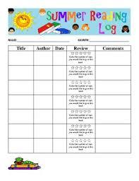 Summer Reading Log Chart