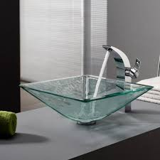 glass bathroom faucets. KRAUS Square Glass Vessel Sink In Clear With Illusio Faucet Chrome Bathroom Faucets E