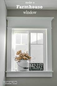This trim is typically about three inches wide, and may also include a protruding windowsill at the bottom. Make Farmhouse Window Trim With Stock Lumber Funky Junk Interiors