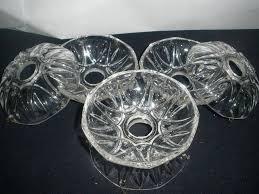 vintage set of 6 bobeche crystal glass for chandelier parts 4 in diameter