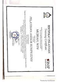 Sertifikat Pelatihan Pdf Sertifikat Pelatihan Asesor Mujriah Bayok Academia Edu