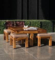 patal coffee table set with four stools in natural finish by f9 furnichair