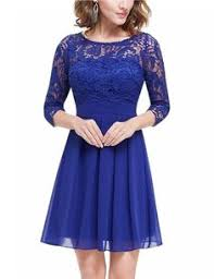 Stylish Round Neck Short Sleeve <b>Solid</b> Color Lace <b>Women's Dress</b> ...
