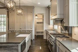 gray cottage kitchen with reclaimed wood island