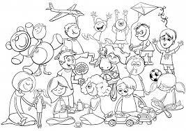 Libro Da Colorare Di Gruppo Giocoso Bambini Scaricare Vettori Premium