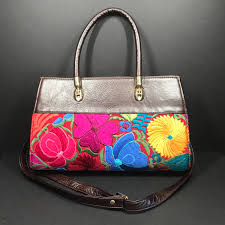 embroidered leather purse mexican embroidery purse bohemian purse mexican flowers purse leather and embroidery purse imported purse
