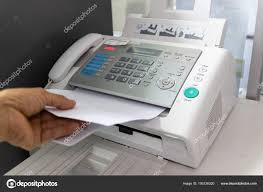Men Using Fax Machine Office Business Concept Stock Photo