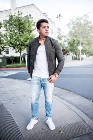 What To Wear With Light Blue Jeans Men Mens Outfit Idea Green Bomber Jacket Light Blue Jeans And