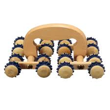 1pcs 16 wooden roller rolling ball wheel massager back relax massage tool