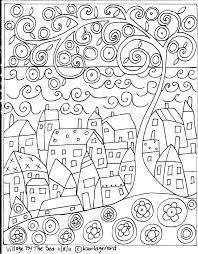 Rug Hook Paper Pattern Village By