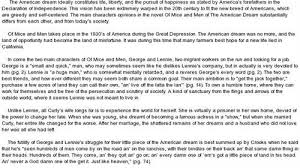 Of Mice And Men And The American Dream Essay College Paper Service