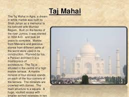 short essay on taj mahal real history importance beauty