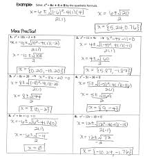 answer key quadratic formula practice