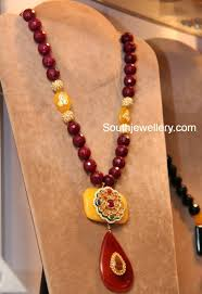Crystal Beads Necklace Designs In Gold Pin On Bikaner
