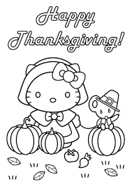 Hello Kitty Happy Thanksgiving Coloring Page Free Printable