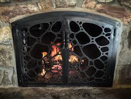 custom iron fireplace gate