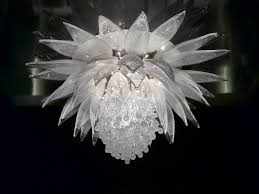 contemporary chandelier blown glass incandescent lotus flower by petra Řehořová