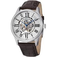 skeleton men s watches shop the best deals for 2017 stuhrling original men s atrium automatic watch brown leather strap