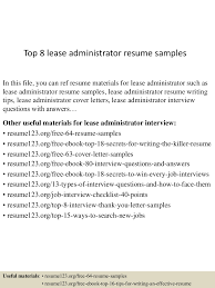 leasing administrator sample resume good example cover letters app6891 thumbnail 4jpg cb 1430981515 top8leaseadministratorresumesamples 150507065106 lva1 app6891 thumbnail 4 top 8 lease administrator resume samples