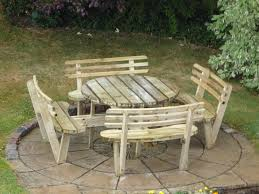 round wood picnic table bobreuterstl round picnic table iron wood 8 seater picnic table with seat