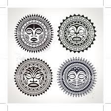 полинезийского татуировка стиле маски стоковая векторная графика и