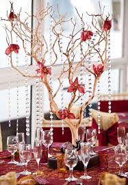 hanging crystals for wedding centerpieces. tall branch wedding centerpiece with hanging crystals for centerpieces r