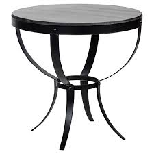 logan industrial rustic metal stone top round side table kathy kuo home