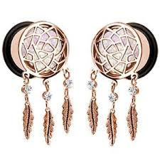 Dream Catcher Tunnels PAIR DREAMCATCHER SPARKLE DANGLE TUNNELS PLUGS GAUGES ROSE GOLD 56