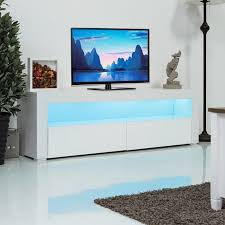 E Giantex Living Room TV Stand Unit Cabinet Console Furniture With LED  Shelves And Drawers Modern White