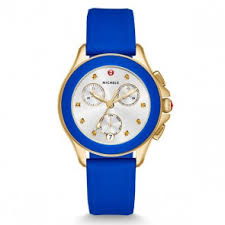 michele watches shop online michele chrono yellow gold topaz cobalt blue cape watch