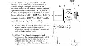 35 pts ultrasound imaging consider the path of the ultrasound wave used to image an i