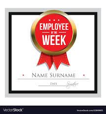 Employee Of The Week Certificate Template Vector Image