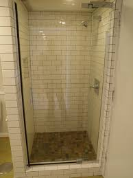 Bathroom:Small Open Shower Space With White Wall Tiles And Glass Door Ideas  Decorating the