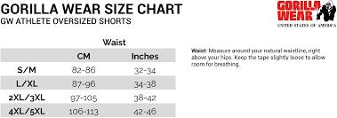 Wear Size Chart Gw Athlete Oversized Shorts Black 4xl 5xl