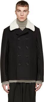 maison margiela black sherpa collar wool peacoat