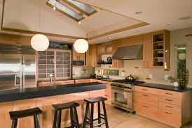 Black Kitchen Counter and Natural Kitchen Cabinet with Shoji Style Doors  also Lantern Lighting in Japanese Style Kitchen