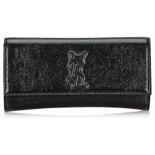 yves saint lau ysl black belle du jour patent leather clutch bag clutch bags leather